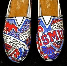 Get ready for football and basketball season at SMU with Custom designed Toms.