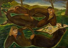 The Dreamers of Ortachala', (dated 1920, probably executed in the 1940s) - Lado Gudiashvili (1896–1980)