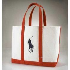 aeeba361abe Ralph Lauren Big Pony Canvas Handbag Orange
