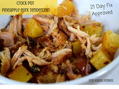 Crock Pot Pineapple Pork Day Fix Approved This Crock Pot Pineapple Pork Tenderloin recipe is ssooo easy and 21 Day Fix AND kid approved, perfect for the fall! - 21 Day Fix Approved-Crock Pot Pineapple Pork Tenderloin! Healthy Recipes, Clean Eating Recipes, Real Food Recipes, Cooking Recipes, Diet Recipes, Epicure Recipes, Blender Recipes, Recipes Dinner, Healthy Eating