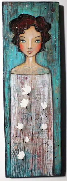 "Original OOAK Mixed Media Folk Art ""Summer Whites"" Acrylic and Colored pencil on Pine woman portrait A. Kennedy"