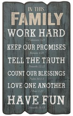 'In This Family' Fence Post Wall Sign