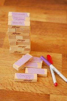 there are so many different ways to use jenga in therapy-- here's another one: write on the blocks that build up families- build a tower with the blocks and talk about how it represents our homes, then remove blocks jenga-style and relate the missing blocks to selfish or unkind actions, teasing, fighting quarreling, disobedience, etc.. the tower (our families) get weaker with each block that is removed
