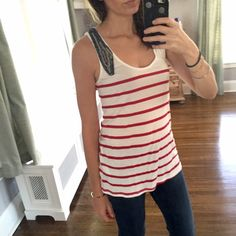 Zara Striped Beaded Tank This sailor inspired top is sure to get you compliments! The gorgeous beaded and chain detail on the side is a wonderful textural element. The material is super soft and flowy. Only worn a couple times and in great condition!  ✨Reasonable offers considered ✨Bundle discounts offered Zara Tops Tank Tops