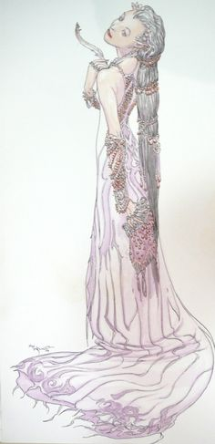 Watercolor painting (untitled) by Michael Kaluta