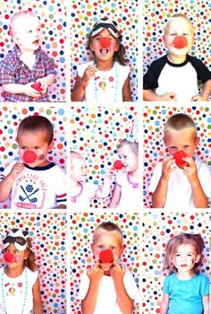 Photo booth: polka dot fabric hung over cardboard.  Child's chairs & Clown nose.