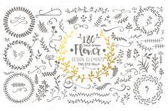 Hand Drawn Flower Design Elements by Julia_Sunrain on @creativemarket