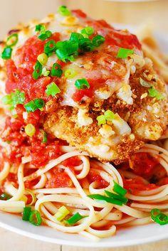 Chicken parmesan pasta in a garlic tomato sauce **Use whole grain bread crumbs, whole grain pasta!