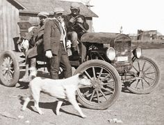Three Men, a Bull Dog and a Model T on a farm