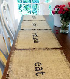These jute burlap place mats are hand stenciled with the words, eat, chow, relish, nourish. All place mats are single ply and are stitched Burlap Projects, Burlap Crafts, Craft Projects, Projects To Try, Home Crafts, Diy And Crafts, Arts And Crafts, Deco Table, Do It Yourself Home