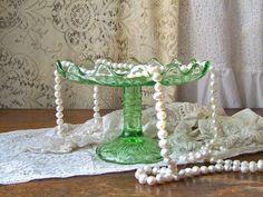 Vintage Green Glass Pedestal Dish by cynthiasattic on Etsy, $29.00