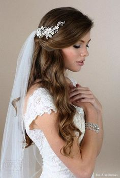 Romantic half up half down hairstyle with soft waves and tule veil. - Romantic half up half down hairstyle with soft waves and tule veil. // Gorgeous … Romantic half up half down hairstyle with soft waves and tule veil. Half Up Wedding Hair, Wedding Hairstyles Half Up Half Down, Elegant Wedding Hair, Half Up Half Down Hair, Wedding Hairstyles For Long Hair, Wedding Hair And Makeup, Wedding Hair Accessories, Wedding Bride, Gown Wedding