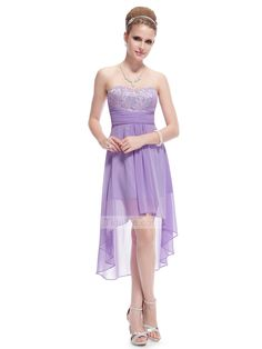High Low Lilac Chiffon Sweetheart Beautiful Lace Cheap Bridesmaid Dress Prom Dress