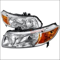 Spec-D Tuning 2LH-CV062-RS Euro Housing Headlights for 06 to 10 Honda Civic, Chrome - 11 x 18 x 26 in., As Shown