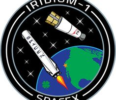 Mission patch for Iridium-1 mission showing launch of the first 10 Iridium NEXT voice and data relay satellites on SpaceX Falcon 9 from Vandenberg Air Force Base, California, for Iridium Communications, and planned landing of the first stage on a droneship in the Pacific Ocean. Credit: SpaceX/Iridium