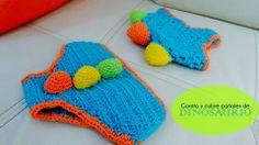 cubre pañales y gorro en crochet de dinosaurio
