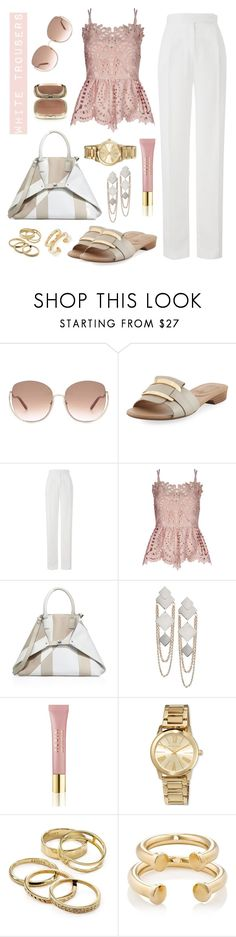 """""""White trousers"""" by ana-amorim ❤ liked on Polyvore featuring Chloé, Neiman Marcus, Amanda Wakeley, Perseverance London, Akris, Agent Provocateur, AERIN, MICHAEL Michael Kors, Kendra Scott and Jennifer Fisher"""