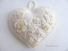 Felt heart with buttons, ornament or pin