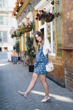 Silver Salt-Water Sandals look great with bare legs and a pretty pinafore! In this pic, What Olivia Did wore them sightseeing on a citybreak round Cardiff. Salt-Water sandals at home in the city as well as the seaside! Denim Pinafore, Denim Fashion, Looks Great, Dress Up, Style Inspiration, Legs, My Style, Floral, Pretty