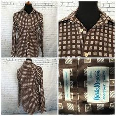 Other - Vintage brown print button down shirt