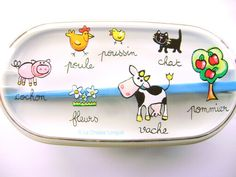 2 Tier Bento Box With Chopsticks And Band Cute Animals In French Blue