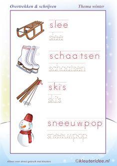 Overtrekken en schrijven, thema winter , juf Petra van kleuteridee, writing winter words free printable.