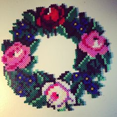 Flower wreath hama perler beads by pagey163