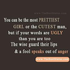 I love this! Exactly why i try and keep my mouth shut. Drama, anger and jealousy is ugly. #progresseveryday #trialsshallcome #ignore