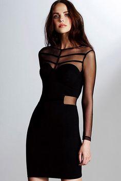 Black+Long+Sleeve+Mesh+Accent+Bodycon+Party+Dress+#Black+#Dress+#maykool