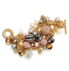 Miriam Haskell Cluster Bracelet. Signature Miriam Haskell pansy hand-wired with glass seed pearls, Swarovski crystals & pearls.