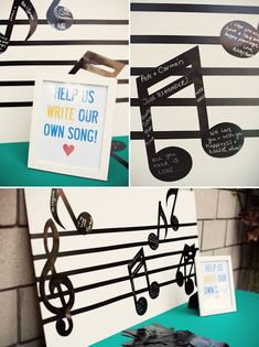 Music Inspired Guestbook -Write your own wedding song www.vintageandlace.com