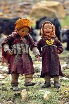 two children of the Himalayas playing together