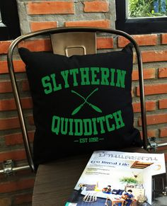 SALE  Slytherin quidditch throw pillow cover by Lessssismoreee
