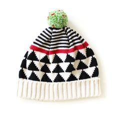 Cream Triangle Stripe Hat by ALL Knitwear.