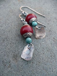 gorgeous coral, turquoise, and silver earrings