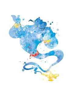 Genie Art Print Aladdin Poster Genie Poster Aladdin by sPRINNT