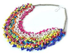 2966 long linen necklace, glass beads, rainbow necklace, multicolor, 10 cords, crochet necklace, boho, hippi