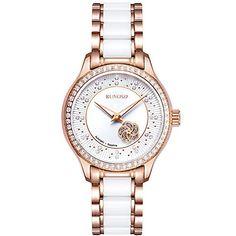 ca61164dc223 RUNOSD 8157L mujer de lujo de cuarzo mecánico automático de porcelana  impermeable reloj de pulsera con