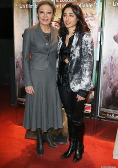 (R-L) Empress Farah Pahlavi alongside actress Golshifteh Farahani at the premiere of the film Syngue Sabour to the UGC des Halles in Paris, 14 Feb 2013