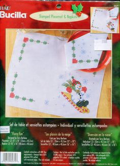 Bucilla Flurry Fun Placemat & Napkin Set Stamped  Embroidery Kit  Snowman on Sled Plaid Bucilla 84679 by PengyPatterns on Etsy