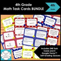 Complete Common Core 4th Grade Math Task Card Bundle, includes 5 Digital Quizzes for Distance Learning. Common Core Aligned. Includes 248 Task Cards, 5 sets in all! Save money- Buy the Bundle! You Save $7.00!! That's like getting more than 1 set for FREE!Topics covered include:Operations and Algeb... Kids Math Worksheets, Math Activities, Teacher Resources, Draw Diagram, Algebraic Expressions, Math Task Cards, 4th Grade Math, Elementary Math, Quizzes