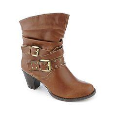 De Blossom Niche-3 tan western mid calf low heel ankle boot