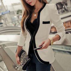 Kontrast Farbe Slim Fit Business Suit Kurz Jacke Figurbetonte Blazer