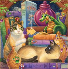 Cat Fishing by Randal Spangler Magical Creatures, Fantasy Creatures, Fantasy Dragon, Fantasy Art, Dragon Cat, Cute Dragons, Dog Carrier, I Love Cats, Livros