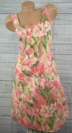 Tommy hilfiger pink floral cotton lined summer sun dress sz 10 #TommyHilfiger #Sheath #SummerBeach