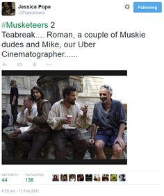The Musketeers - Series II BtS filming via Jessica Pope's Twitter