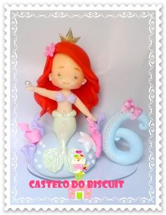 Topo de bolo Ariel   http://www.elo7.com.br/topo-de-bolo-ariel-com-vela/dp/6532A5
