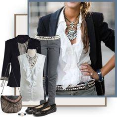Blazer, Ruffles, Sparkly Jewelry by tiquis-miquis