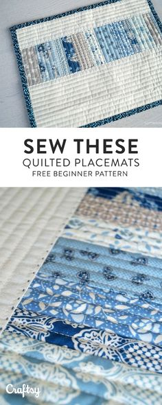 Gather a hand full of scrappy strips, some solid fabric for borders, a little bit of batting and backing fabric and create some scrappy 'All in a Row' quilted placemats. Get the free beginner quilting pattern at Craftsy! Beginner Quilt Patterns, Quilting For Beginners, Beginner Quilting, Table Runner And Placemats, Quilted Table Runners, Small Quilts, Mini Quilts, Quilting Projects, Quilting Designs