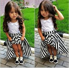 Black and white stripe maxi skirt
